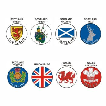 National Emblems pk of 5 25mm centres-